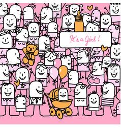Cartoon people and new born baby girl card vector