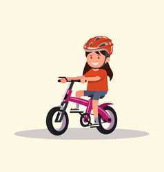 cheerful girl rides a bicycle vector image