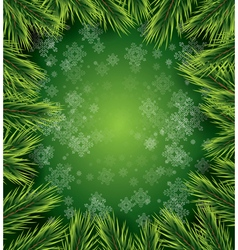 Christmas card with white snowflakes on green vector image