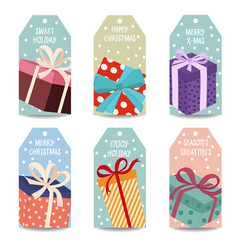 christmas labels collection withgift boxes vector image