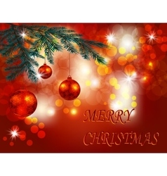 Christmas New Year greeting Three shiny red vector image