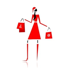 Christmas shopping santa girl with gifts vector image