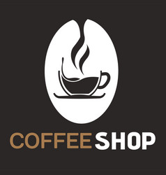 coffee shop cup of coffee black background vector image