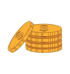 Coins gold money cash stack icon graphic vector