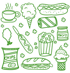 Collection stock of food doodle set vector