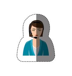 Color sticker with half body of female customer vector