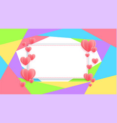 colorful banner with heart in paper cut style vector image