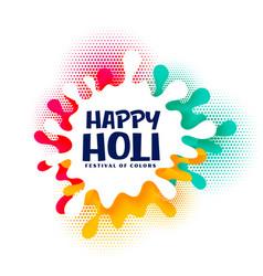 Colorful splash happy holi festival card design vector