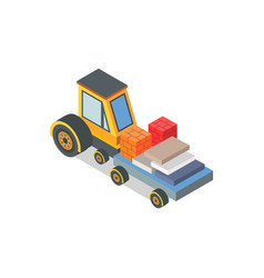 Construction machine with loaded bricks and boxes vector