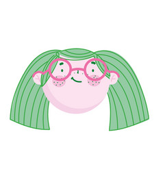 cute face girl with glasses cartoon character vector image
