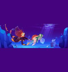 diver girl help underwater animals vector image
