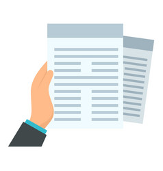 Documents in hand icon flat style vector