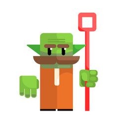 Dwarf with a green face and a staff in his hands vector