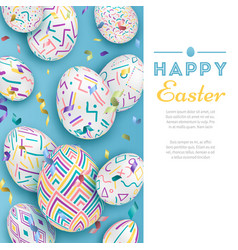 easter background with 3d ornate eggs on blue with vector image