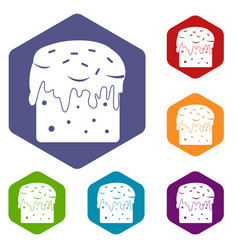 Easter cake icons set hexagon vector