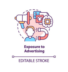 Exposure to advertising concept icon vector