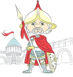 Fairytale cartoon knight in armor vector
