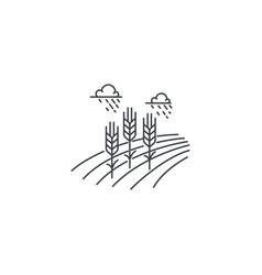 farm wheat line icon outline of vector image