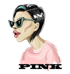 fashion girl in pink t-shirt and trendy sunglass vector image