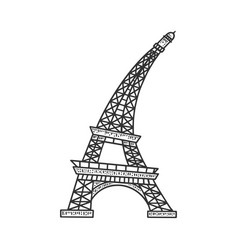 flexible eiffel tower sketch vector image
