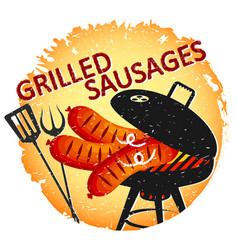 fried sausages on grill vector image