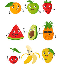 funny fruit face and cartoon fruit characters vector image
