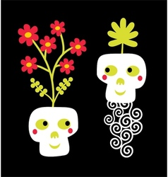 Funny skull couple with flowers vector image