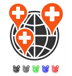 Global clinic company flat icon vector