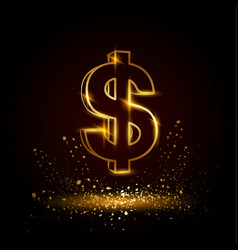 gold dollar symbol vector image