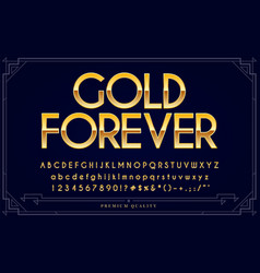 Gold metallic font set letters numbers vector