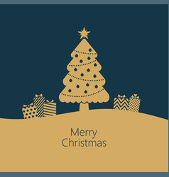 golden christmas tree on blue background vector image