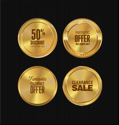 golden metal badges collection vector image