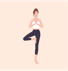 gorgeous woman practicing hatha yoga and zen vector image