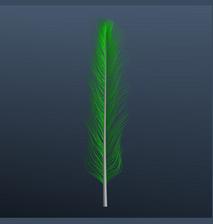 green feather icon realistic style vector image