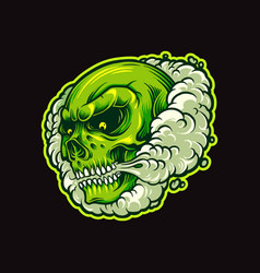 green skull smoke in cloud vector image