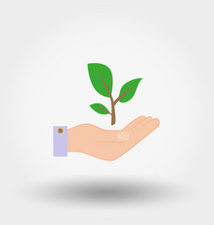 green twig in a hand sign of environmental vector image