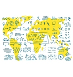 Hand draw map set elements vector image