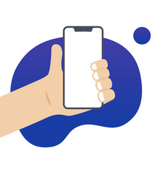 Hand holding a phone with white screen vector