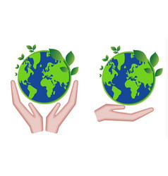 hands holding green earth globe and leaves save vector image