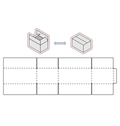 Horizontal box template packing Simple vector