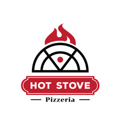 hot stove pizzeria logo with fire vector image vector image
