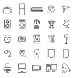 Household line icons on white background vector