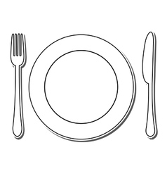 icon plate fork and knife vector image