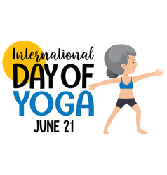International day of yoga banner with old woman vector
