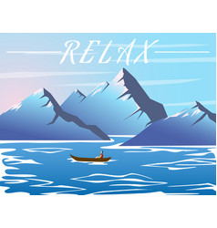 lake in the mountains flat style vector image