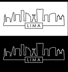 Lima city skyline linear style editable file vector