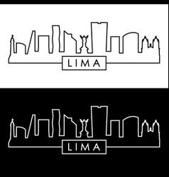 lima city skyline linear style editable file vector image