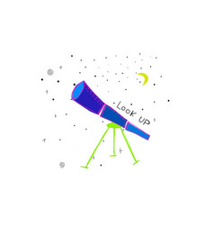 Look up telescope discover universe space star vector