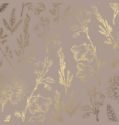 luxury golden pattern with wildflowers on a brown vector image