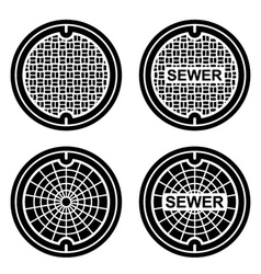manhole sewer cover black symbol vector image
